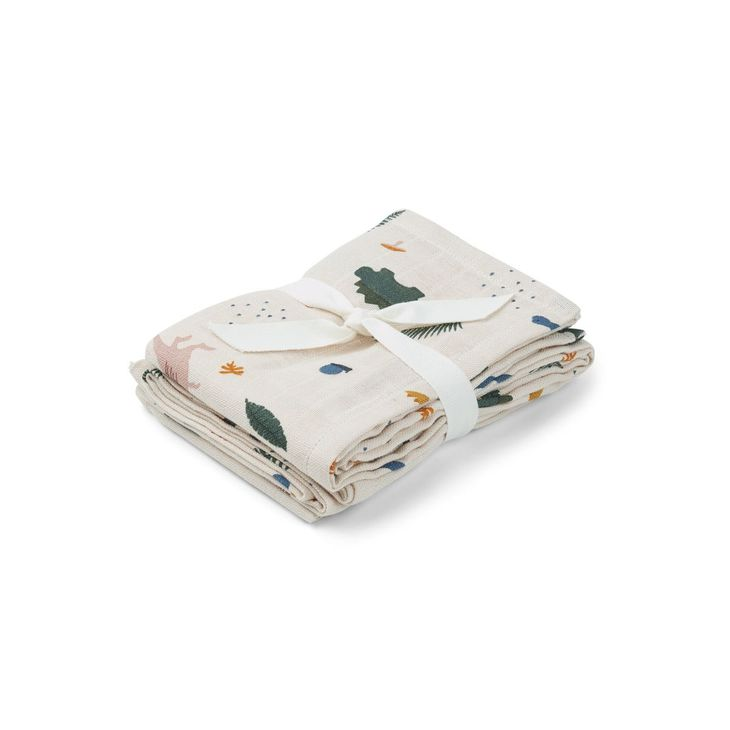 Liewood Hannah Muslin Cloth Print 2 Pack Dino Mix