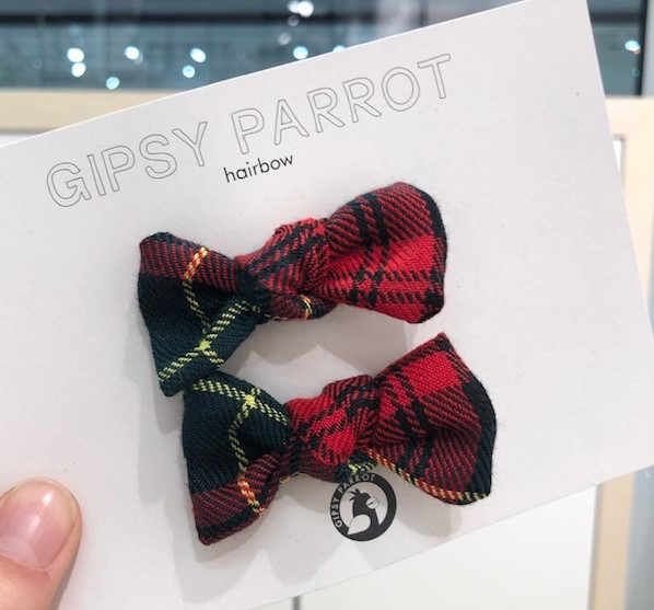 Gipsy Parrot Babyknot Christmas Check Rusettipinnit