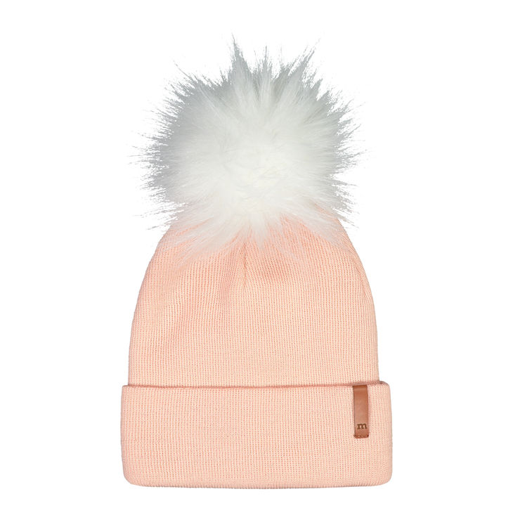 Metsola AW19 Knitted Rib Beanie Fur Rose Smoke