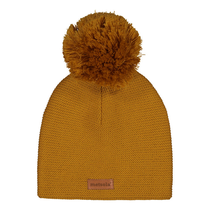 Metsola AW19 Knitted Classic Beanie 1 Pom Pom Sweet Honey