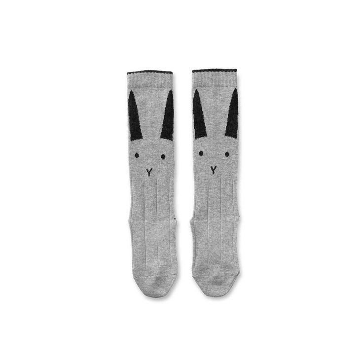 Liewood Sofia Knee Socks Rabbit Grey Melange/Dark Grey Melange