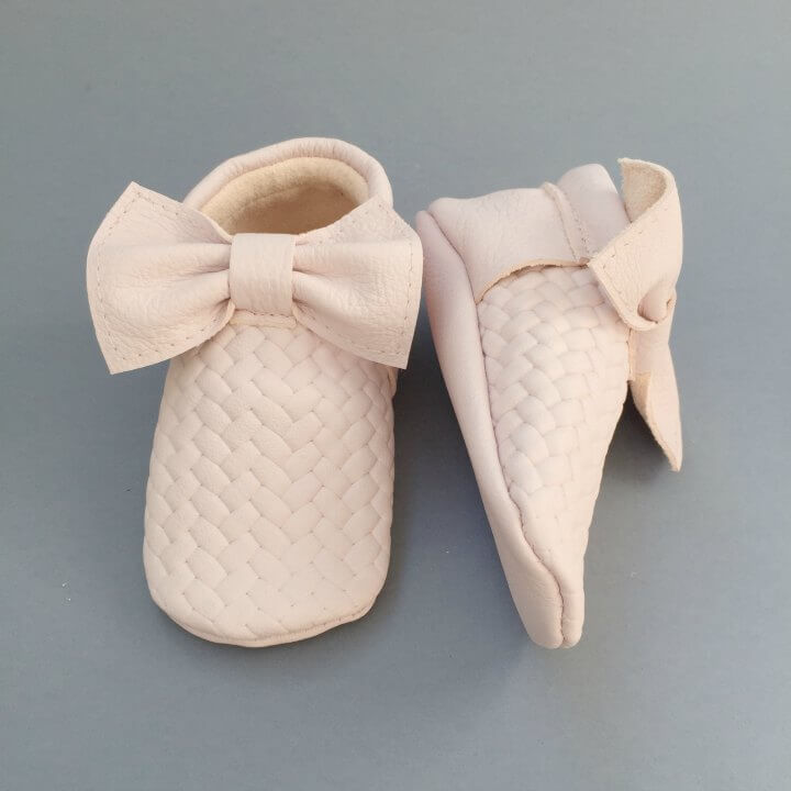 For Minis And Mommies Braids Pale Rose Moccasins