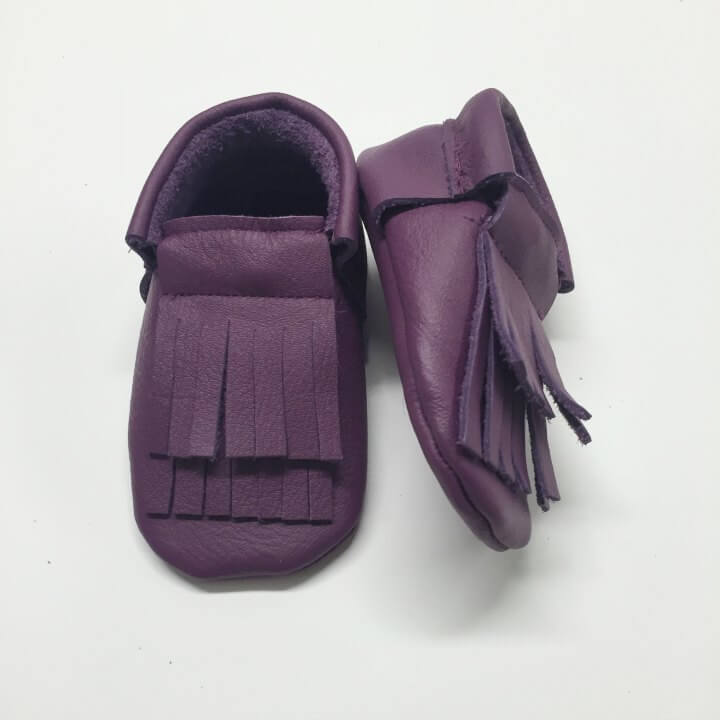 FMAM Moccasins Double Fringe Purple