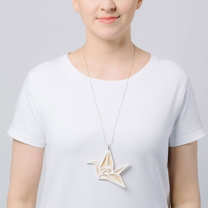 Yo Zen Swan Big Pendant Birch/White