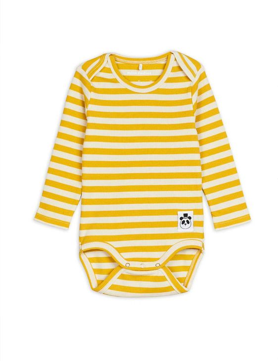 Mini Rodini SS20 Stripe Rib Ls Body Yellow